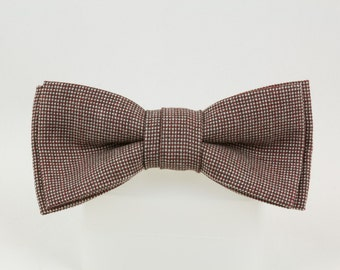 Handmade Reddish Brown English Wool Tweed Clip on Bowtie, Vintage fabric woven in the 1940s, 4 1/2 by 2 inches, Beautiful