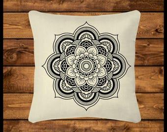 MANDALA PILLOW - Burlap-look Canvas Pillow, Throw Pillow, Custom Pillow, Pillow Cover, Wedding Gift, Housewarming, Home Decor, Home Gifts