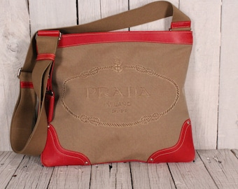 Vintage shoulder bag PRADA logo jacquard Canvas red leather bag Prada Adjustable strap