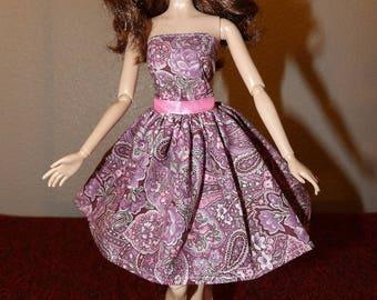 Jolie rose Cachemire & floral bustier robe d'été pour les poupées Faahion - ed1025