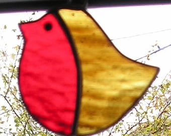 Stained Glass Robin, Suncatcher, Handmade in England