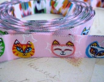 "SALE - Half Price - Cute Cats - Jacquard Ribbon - 5/8"" x 1 yard"