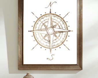 Compass Rose Map Illustration | Compass Old Map | Cartographers Map | Compass Rose Silhouette Art print | Colourful Silhouette | Hipster Art
