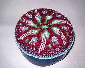 Yoga Kissen Meditationskissen Boden- Sitzkissen cushion Pouf Handarbeit Tapestry Crochet Leder- Boden Häkel- Kunst 28cm