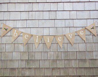 Christmas Decor, Believe Banner, Believe Burlap Bunting, Christmas Burlap Banner, Christmas Bunting, Christmas Decor, Holiday Decor, Rustic