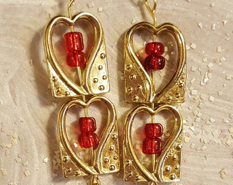 Gold Heart Earrings, Valentine Earrings, Red Heart Earrings, Valentine Heart Earrings, Valentine Earring Gift, Valentines Jewelry