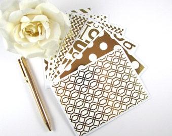 Gold Foil Note Cards, Set of 6, Stationery, Handmade, Blank Inside