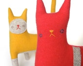 Kitty no.138 bright coral pink with white herringbone stripes