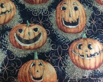 Jack O Lantern Fabric By the Yard or Half Yard Straw Halloween Autumn Fabric Carved Pumpkin 100% Cotton Quilting Apparel Fabric
