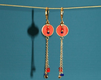 "Dangling golden earrings, cabochon red leather, chains, red and blue beads, gold plated brass, model ""Kazia"""