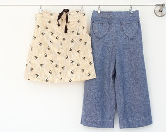 Girl Clothing Set, organic cotton top, jean toddler pants, little girl clothes, child retro clothing,girl boho, sizes 2T, 3T, 4T, 5, 6, 7, 8