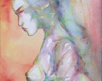 Watercolor Female Impressions Original Studio Handmade
