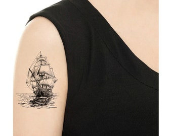 Temporary Tattoo - Vintage Ship - Various Patterns / Tattoo Flash