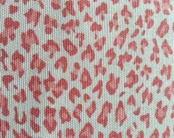 Pink White Leopard Cotton Canvas Upholstery Fabric 6 Yards Remnant