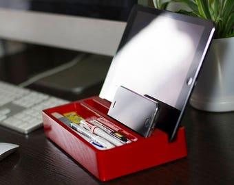 Red Glossy Color Paint Wood Desk Organizer, Mini Desktop Shelf, Office & Home Organizer, Dock Station, Wooden Desktop Storage