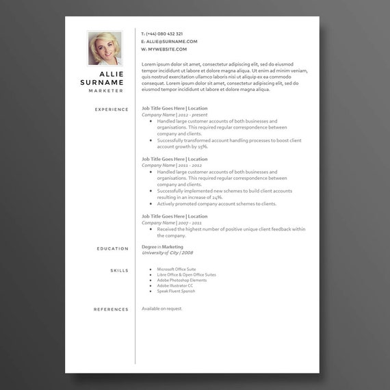 modern profile resumecv template the allie 20 premium