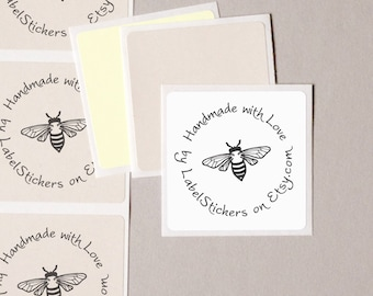 """HANDMADE with LOVE label stickers handdrawn vintage bumble bee for your shop personalized SHOP name square 20 medium 2"""" order wrap seals"""