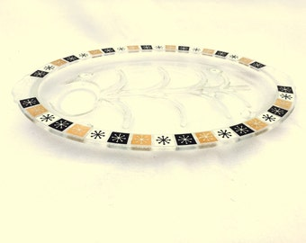 Vintage Mid Century ATOMIC STARBURST Clear Glass Meat Serving Platter / 1960s Inland Glass Product