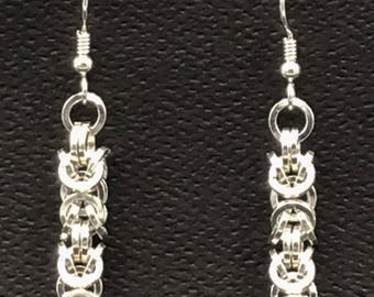 Square sterling silver wire in a Byzantine chain maille weave earrings
