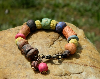 Boho Stoneware Clay Bead Bracelet