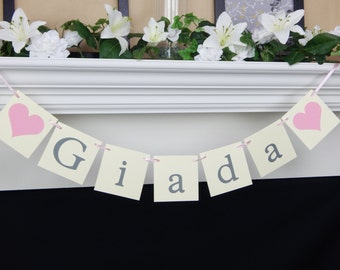 Baby name banner, baby banner, baby shower sign, baby shower decorations, girl baby banner, baby girl banner, its a girl banner
