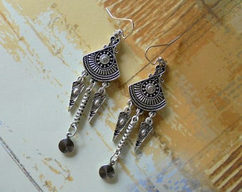 Silver Ethnic Boho Earrings (3936)