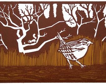 Unframed Linocut Print - Wren by Orchard