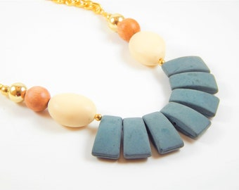 Vintage beads Necklace, Statement Necklace, Unique jewelry, Boho necklace, Oversize necklace, gift, modern necklace, colorful jewelry