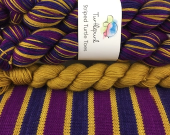 Bruised - With Honey Gold Heel & Toe - Hand Dyed Self Striping Sock Yarn