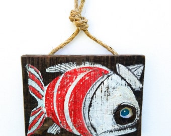 Fish Art Handmade on Reclaimed Wood