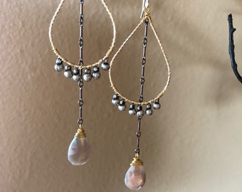 Chocolate moonstone drop earrings with mixed metals