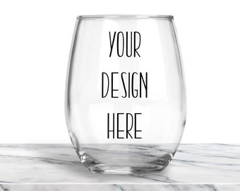 Custom Wine Glass, Stemless Wine Glass, Personalized Glasses, Bridesmaid Gift, Christmas Gift, Stocking Stuffer, Secret Santa Gift