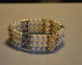 Pearl glass beads and crystal beads bracelet