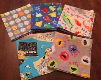 Lunchbox Napkins, Kids Cloth Napkins, Creatures Dragons,Set of 5