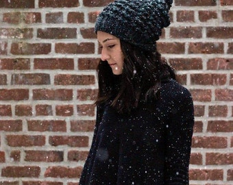 The Astoria - CHARCOAL // Slouchy Chunky Knit Beanie Hat pom pom
