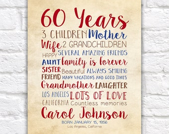 Birthday Gift for Mom, 60th Birthday, 60 Years Old, Gift for Dad, Mother in Law, Mother Gift, Moms Birthday, Bday Gift Idea, Grandma | WF32
