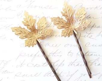 Raw Brass Maple Leaf Hair Pin - Maple Leaf Bobby Pins - Woodland  Hair Pin Set - Whimsical - Nature - Bridal Hair Accessory