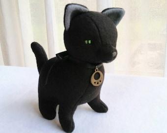 Black Cat Felt Doll, Handmade Halloween Kitty Soft Sculpture, Gothic Stuffed Witch Cat for Cat Lovers