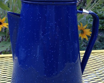 Enamelware ROYAL BLUE with white speckle Coffee Pot Hinged
