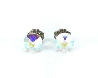 Titanium Stud Earrings Crystal Aurora Borealis Swarovski Crystal Studs, No Nickel Studs for Sensitive Ears Hypoallergenic Titanium Jewelry