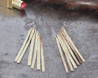 Boho fringe earrings ,Gold Fringe earrings, Leather earrings, Long earrings, Gold statement earrings, long fringe earrings, Jewelry gift
