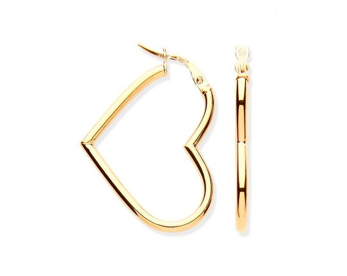 9ct Yellow Gold 2.3cm Hollow Tube Open Heart Shaped Hoop Earrings