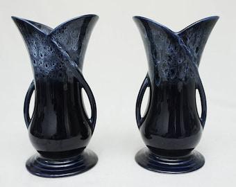 Pair of  Dark Blue Ceramic Vases