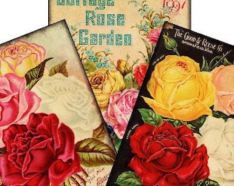 Cottage Rose Garden BuNdLe PaCk Tags 2.5x3.5 Digital Collage Sheet seed packets greeting cards postcard ATC ACEO gift tags UPrint 300jpg