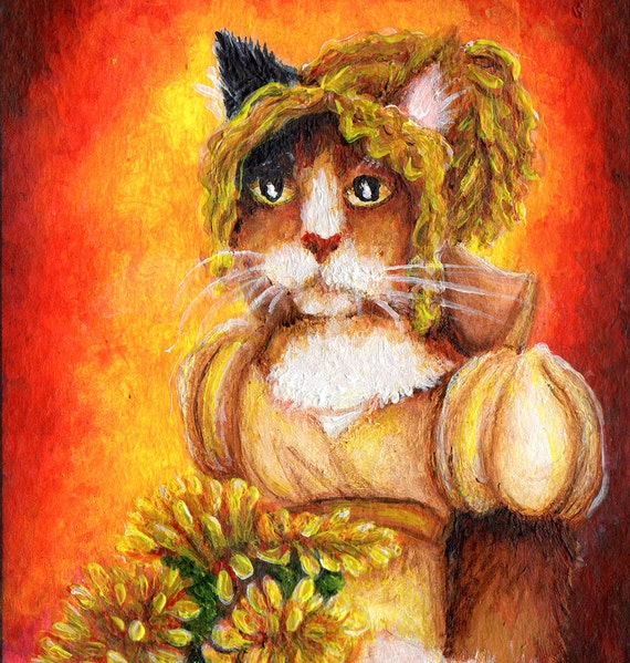 Calico Cat Art Chrysanthemums 5x7 Fine Art Print CLEARANCE