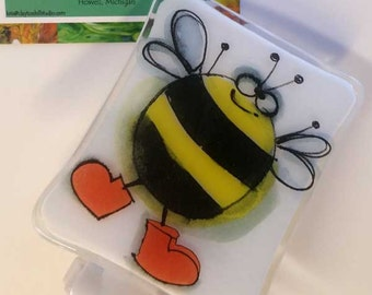 Fused Glass Night Light - Happy Bee