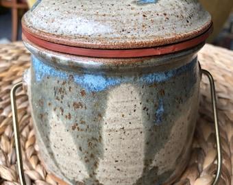 Ceramic Lidded Crock with Brass Handle