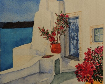 """Watercolour Greece : """"White  house in Cyclades"""""""