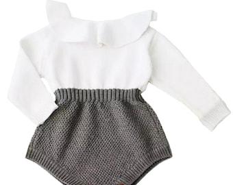 Infant long sleeved knit romper