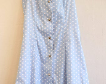 OOAK Baby Blue Polka Dot Dress, womens small dress, baby blue and white dress, blue and white polka dot dress, baby blue and white polka dot